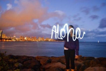 Playing with light on O'ahu with the famous downtown Waikiki night lights in the background.