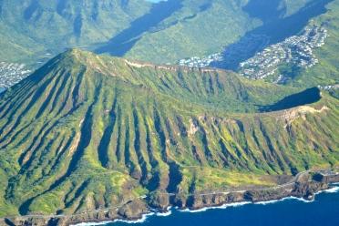 Flying over Koko Head Crater, O'ahu