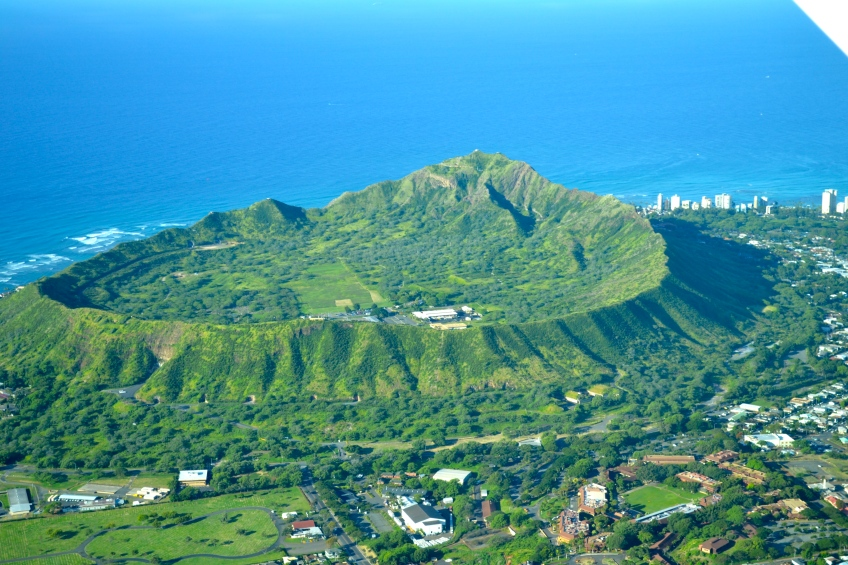 Flying over Diamond Head Crater, O'ahu