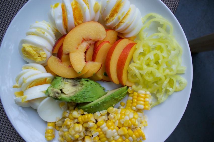 Fixins' for a cobb salad.