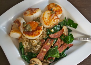 ...because scallops, chard, capers and turkey bacon is always a good idea.
