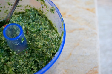 Home made pesto is my favorite topping to make and goes well with anything!