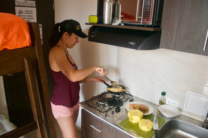 Cooking brekkie in our private kitchen inside our room