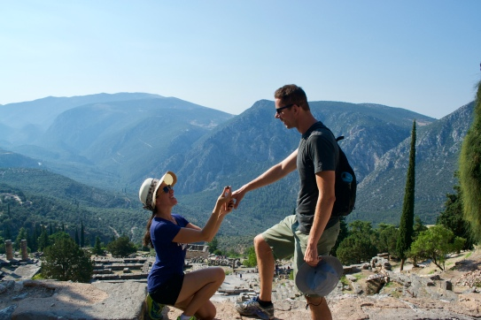 At the top of the Amphitheater, I proposed to Sasha with a pinecone. It was a very special pinecone from the ancient ruins of Delphi overlooking a picturesque mountain below. Since he enjoys history, nature and being tall, I figured it would be more appropriate than a ring. He said yes!! I wanted him to feel as special as I did when he proposed, but I think maybe it's a girl thing, ha! 😄