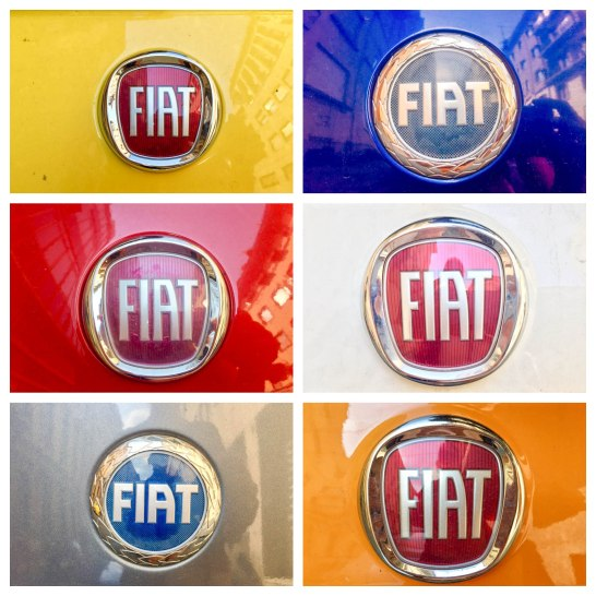 I may or may not have gone around on a Fiat treasure hunt challenge to take a photo of as many colors as I could possibly find...and it wasn't difficult, nor did I have to go far to find them! Every other car in Turin is a Fiat, including our rental!