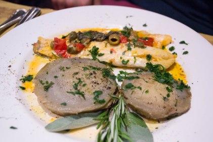 Artichoke hearts with fresh fish and pomodoro.