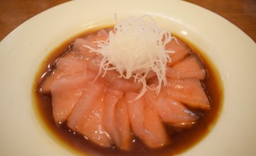 Smoky marlin sashimi with daikon radish